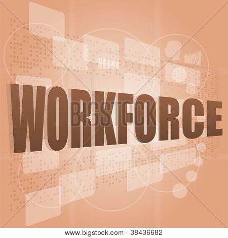 Words Workforce On Digital Screen, Social Job Concept