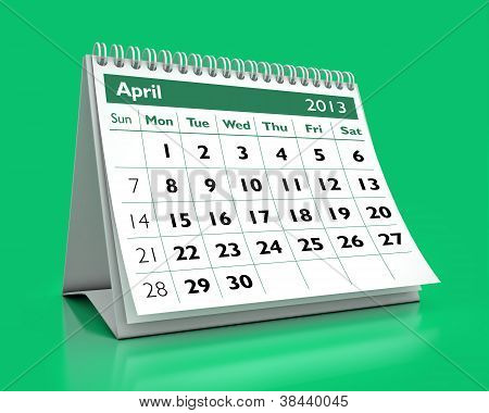Calendário de abril de 2013