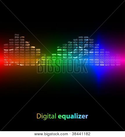 Colorful digital equalizer on black background