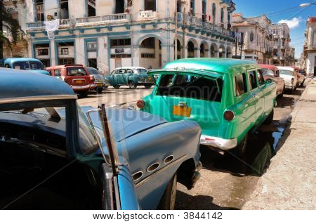 Oldtimers In Old Havana Street