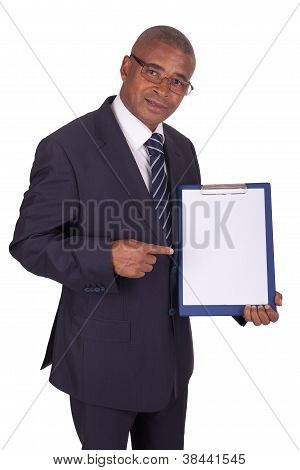 Black Businessman With Panel.