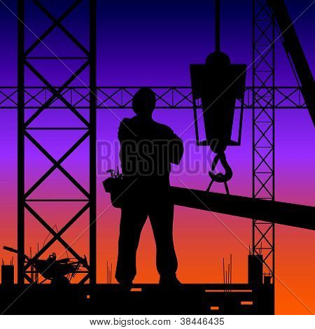 Construction Man On Work Vector Illustration