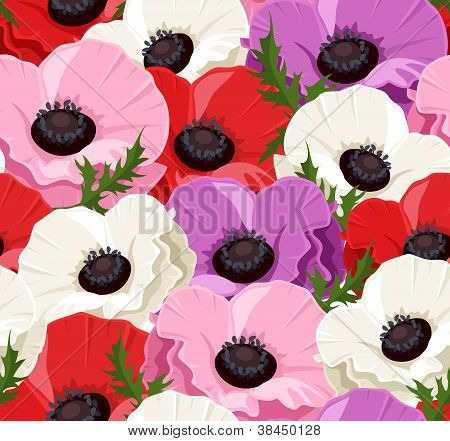 Seamless background with colored poppies. Vector illustration.