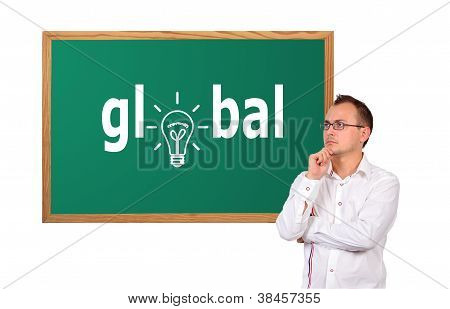 Zeichnung global auf Schreibtisch