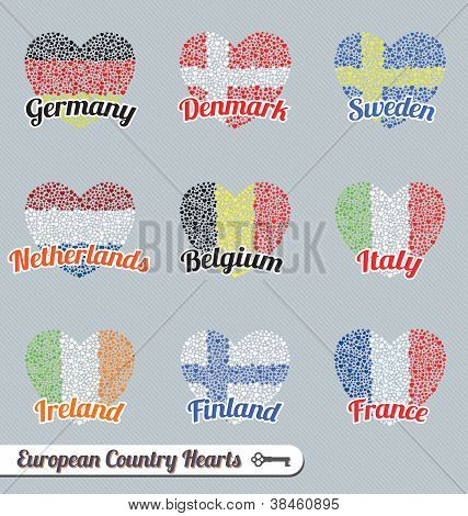 European Flag Heart Labels