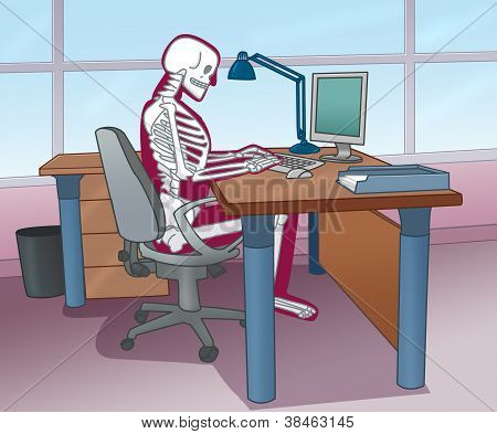 skeleton posture at the computer