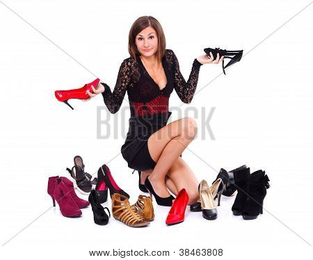 Hesitant Woman With Shoes