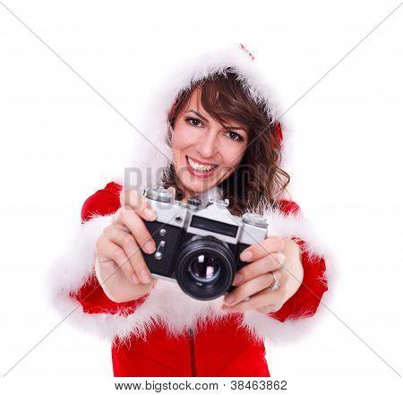 Pretty Mrs. Santa With Retro Camera