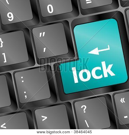 Lock Written In White On Blue Computer Keys