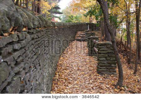 Stone Wall Along Hiking Trail