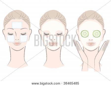 Satz von elegante, schöne Frau mit Maske