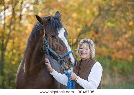 Woman And Horse Laughing