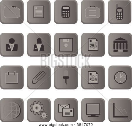 Business Icon Metal Buttons