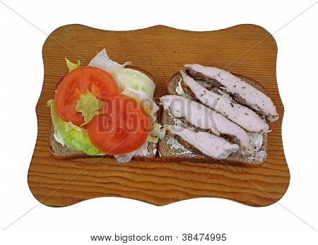 Sliced Lettuce Tomato Chicken On Bread