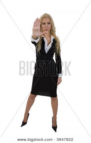 Woman Showing Stop Sign With Hands