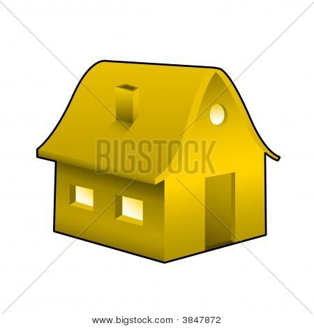 Orange House Icon Illustration