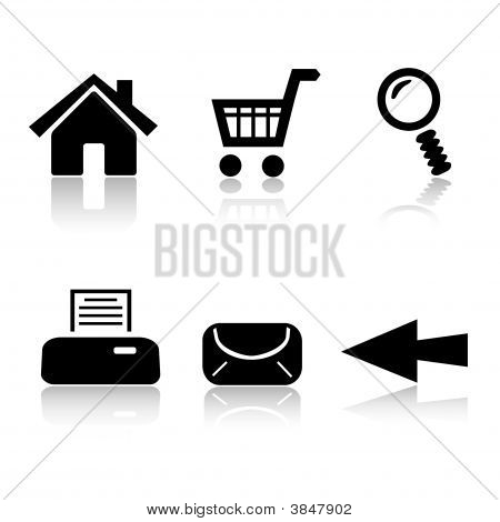 Set Of 6 Black And White Icons