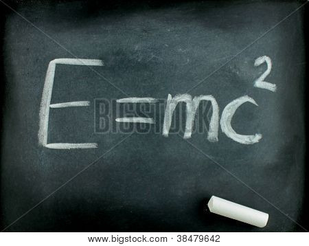E=mc� Albert Einsteins Physical Formula On Blackboard