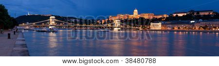 Panoramic Cityscape Landmark Royal Buda Castle, Chain Bridge Budapest Hungary