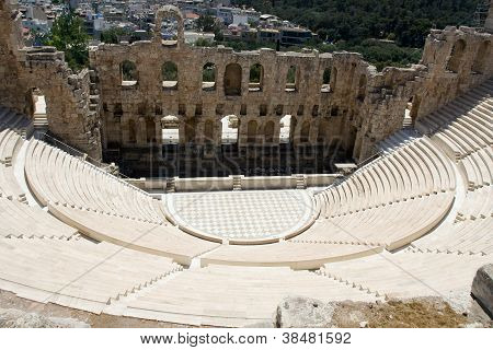 Ancient Amphiteatr Odeon Gerodes Atticus In Acropol Athents Greece