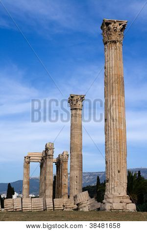 Ancient Temple Of Olympian Zeus In Athens Greece On Blue Sky Background