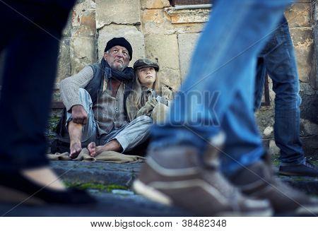 Homeless Abandoned Family