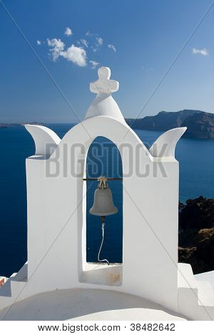 See View Through White Church Arch And Bell Santorini Greece