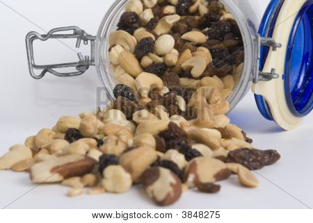 Almond Nuts And Dry Fruits In A Glass