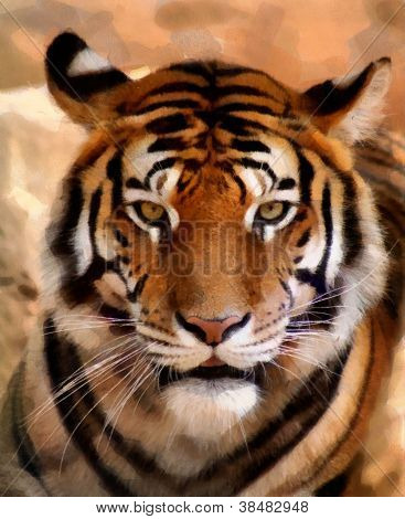 Tiger Face Portrait Painting