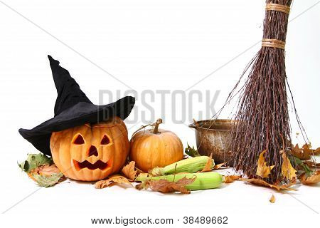 Halloween Pumpkin, Hat, Corn, Broom, Leaf And Pot Isolated Over White Background