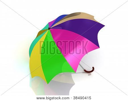 Colour Umbrella With Wooden Handle