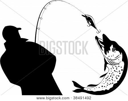 Fishing, Fisherman And Pike, Vector Illustration