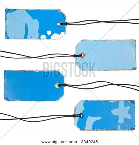 Set Of Vintage Blue Tags
