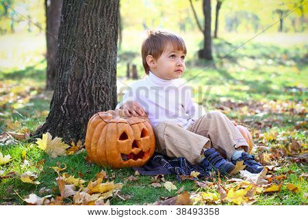 Little Boy With Halloween Pumpkins Sitting Near A Tree