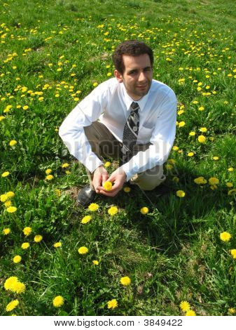 Man Among Dandelions