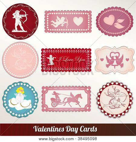 Vector set card of valentine's day vintage