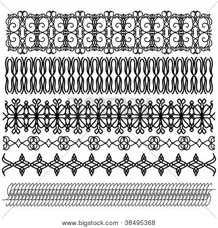 Black ornamental trim oder border collection