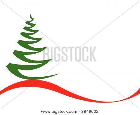 Christmas Tree Vector On White