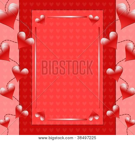 Romantic Valentine background with hearts
