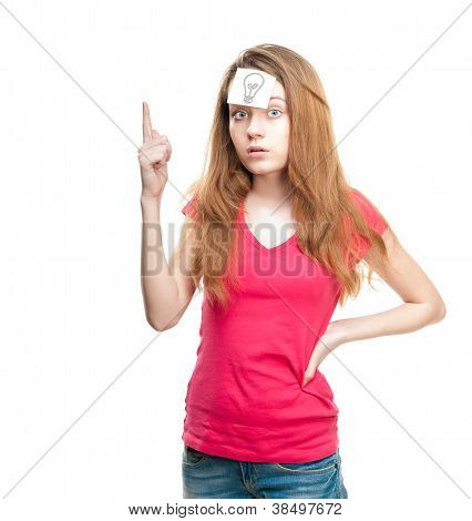 Girl With Light Bulb On Paper On Her Forehead.