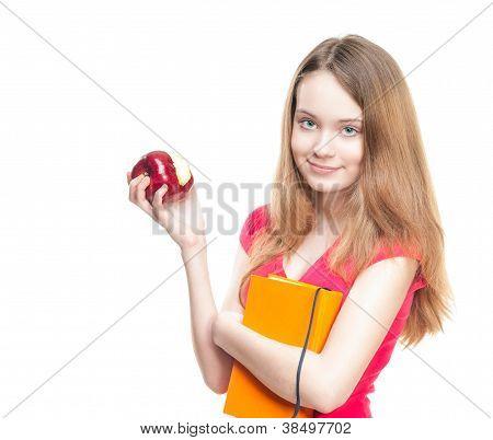 Student Girl Eating Apple.