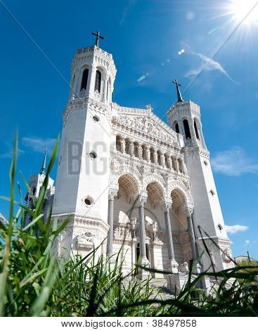 View Of Basilica Of Notre Dame De Fourviere On A Sunny Day.