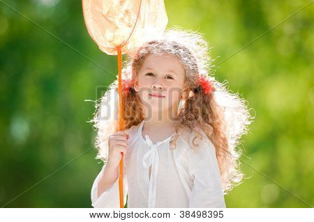 Beautiful Little Girl With Butterfly Net