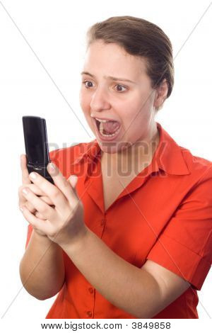 Business-Woman Screaming At Her Cellphone