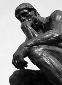 picture of thinker  - Detail of The Thinker sculpted in 1904 by Auguste Rodin  - JPG