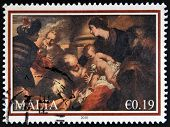 MALTA - CIRCA 2010: A stamp printed in Malta shows The painting 'The Adoration of the Magi' from Lom