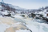 stock photo of laplander  - Frozen river in tundra - JPG