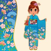 stock photo of chibi  - manga girl in kimono standing next to a patterned banner - JPG