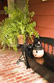 stock photo of jack-o-laterns-jack-o-latern  - a black bench displaying a black cat and a happy pumpkin for fall display - JPG