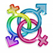 stock photo of transgendered  - symbols of male female and transgender on white background - JPG